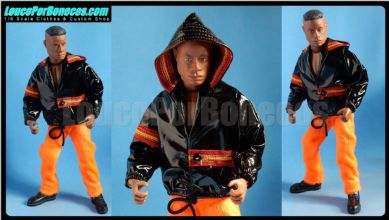 LoucoPorBonecos - FALCON 80 - Original black hoodie and orange pants Uniform for Action Man, Gi Joe Etc